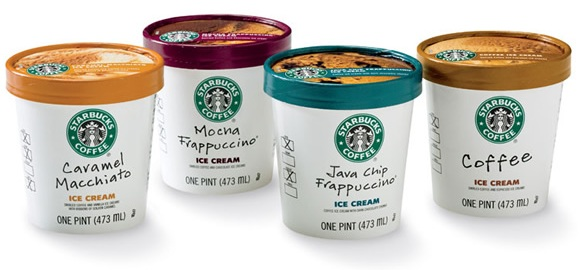 Starbucks ice cream in four flavors