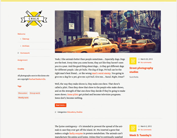 WordPress theme: Chalk