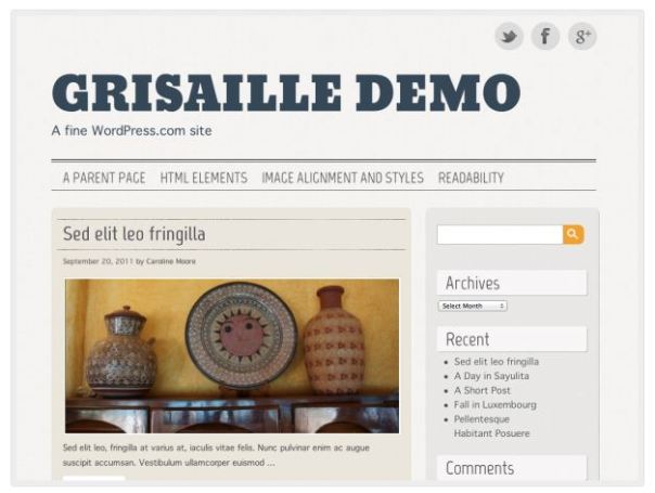 WordPress theme: Grisaille