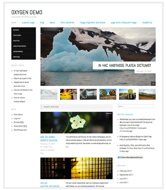 WordPress theme: Oxygen