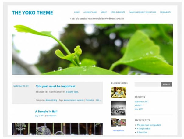 WordPress theme Yoko