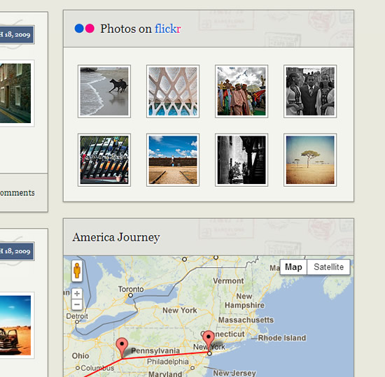 travel theme integrates maps and photos